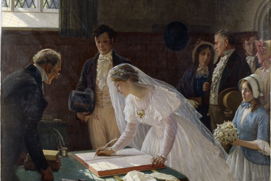 Image: Marking the moment: The Wedding Register by Edmund Blair Leighton, Oil on canvas, 1920, K1828 © Bristol Museums, Galleries & Archives